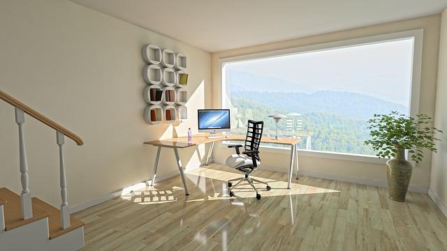 Light, open office, simple layout