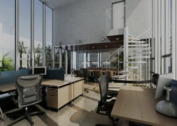 nice office with black chairs and wooden desks