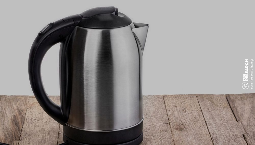 electric tea kettle on a wooden benchtop
