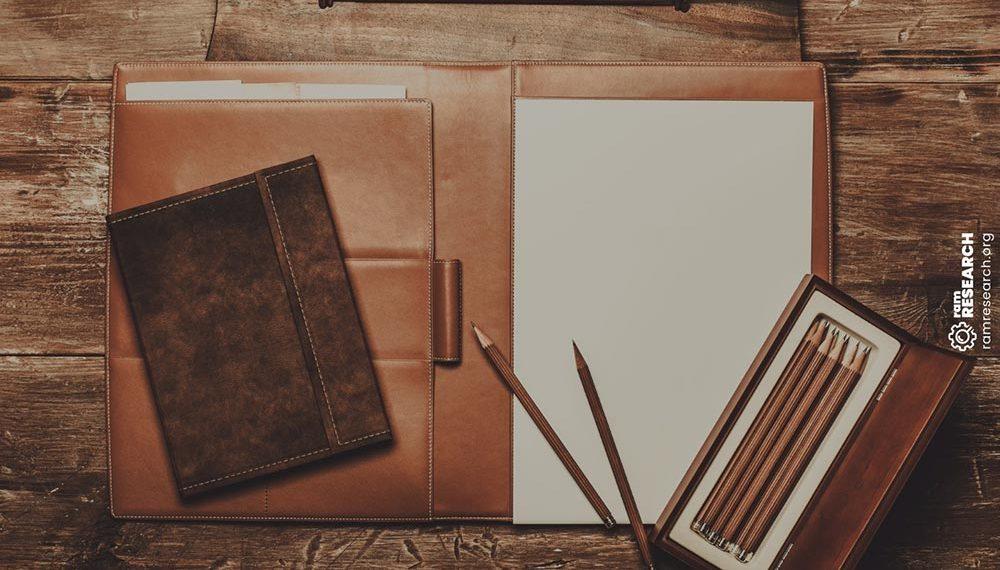 leather padfolio on a desk