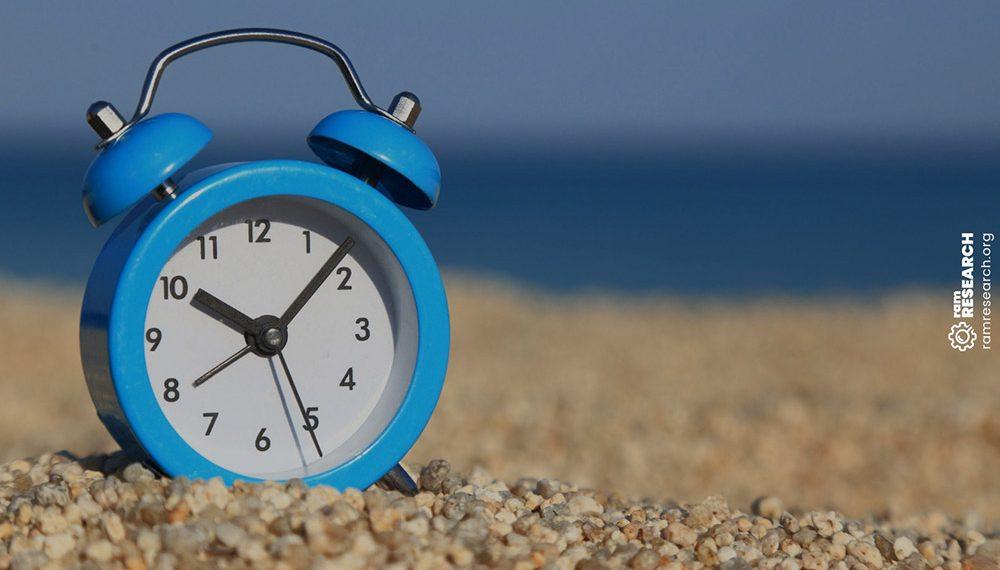 blue alarm clock on the beach