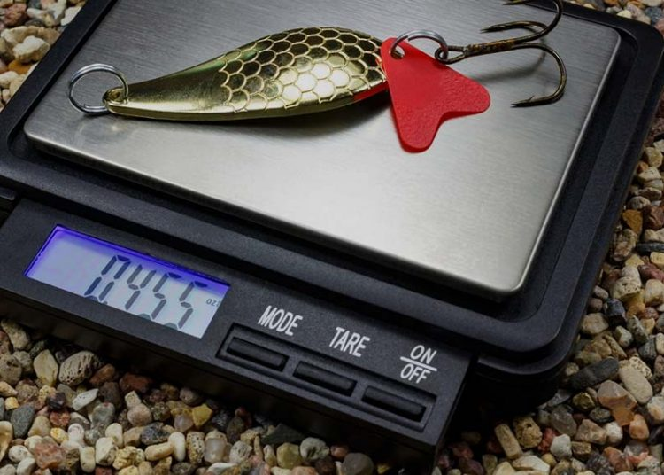 weighing a fishing lure on a scale