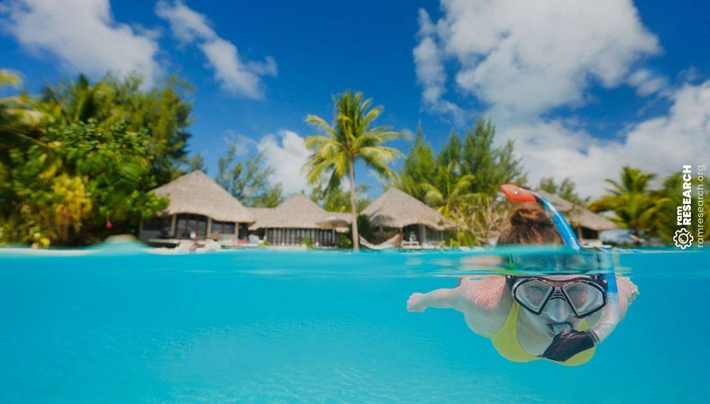 snorkelling in pristine blue water