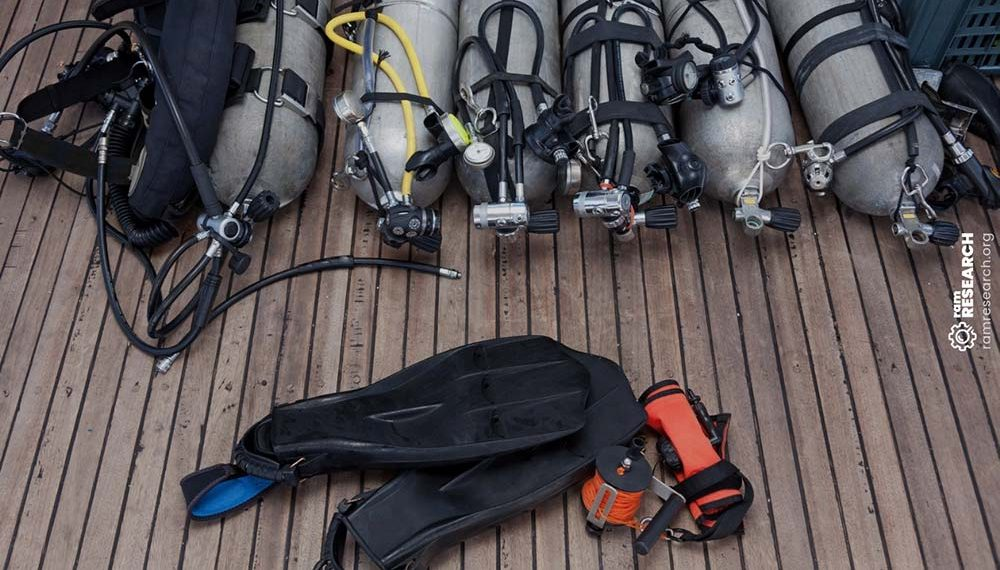 scuba tanks and gear laid out