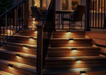 solar lights on a deck