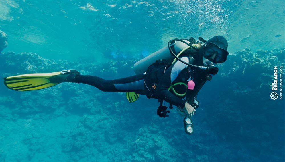 Scuba diving holding dive computer