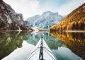 kayak on a beautiful lake in Italy