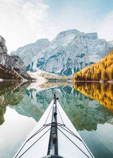 kayak on a beautiful lake in Italy